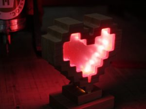 CNC 8 Bit Heart Light, 19mm ply or MDF