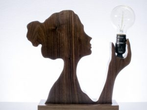 CNC Cameo Lady Silhouette Lamp, 25mm plywood or wood