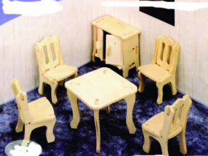 3D Laser Cut Toy Dining Room Table and Chairs