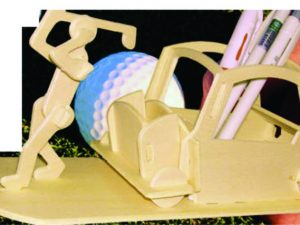 3D Laser Cut Golf Player Pen Holder