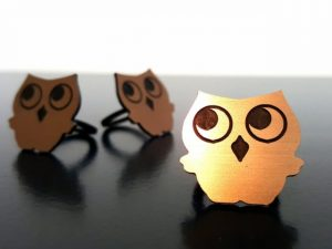 CNC Owl Ring, 2mm Two Colour Plate or Casr Acrylic