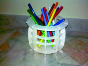 3D Laser Cut Pen Holder – Round