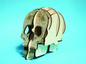 3D Laser Cut Skull Pen Holder
